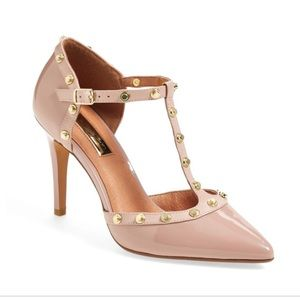 Gorgeous nude studded halogen heels size 5